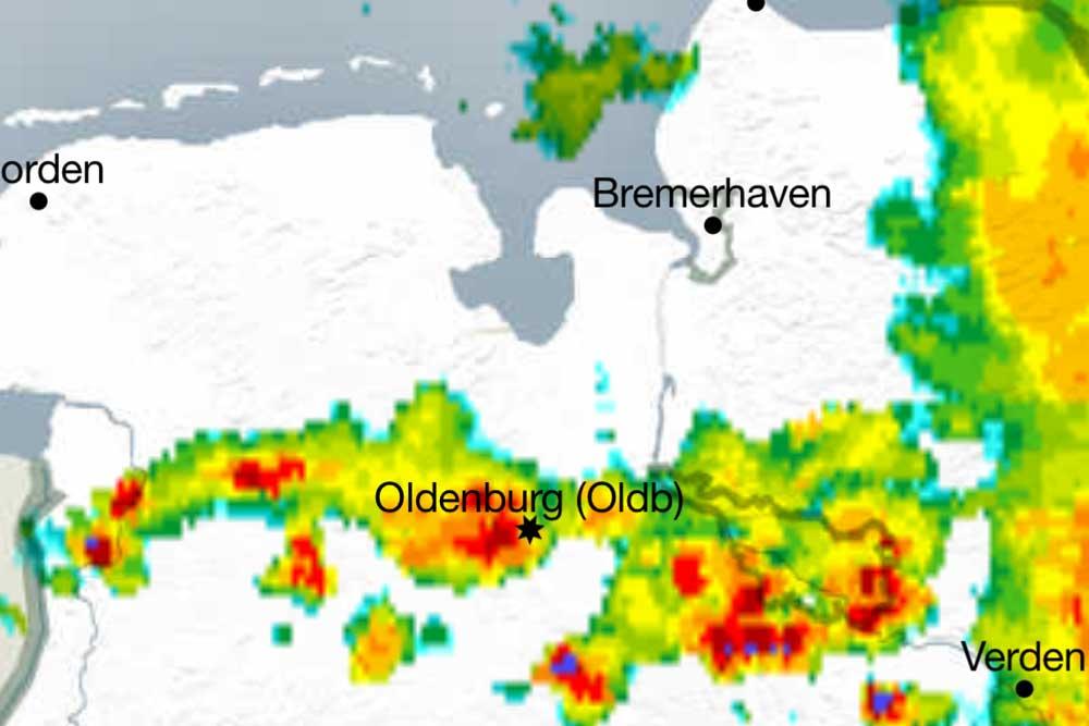 Radar-Prognose, Oldenburg, 5. Juli, 15.30 Uhr.